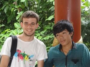 Thomas et Leap au Phnom Kulen